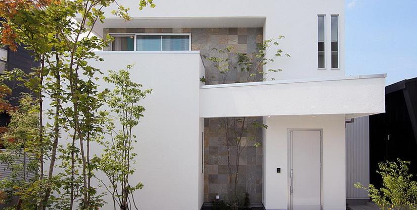 ไอเดีย และแบบการสร้างบ้านสีขาวโอ่อ่าเน้นใช้แสงจากธรรมชาติเข้าช่วย